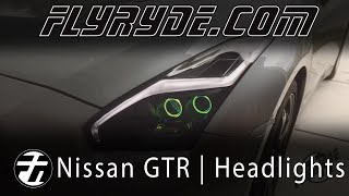 2015 Nissan GTR Matte Black LED Headlights w/ RGB Demon Eyes and Angel Eyes
