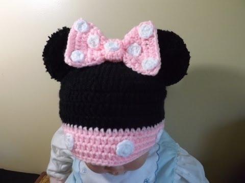 Crochet Gorrito Minnie Mouse de 3 a 6 meses