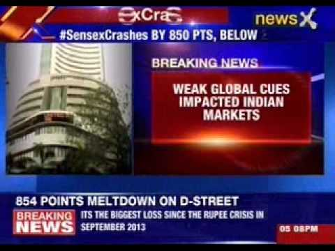 Sensex Crashes 854 Points in Biggest Fall Since Rupee Crisis in 2013