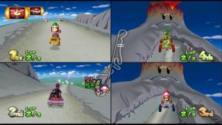 Mario Kart Double Dash!!: DK Mountain 4 player Netplay race 60fps