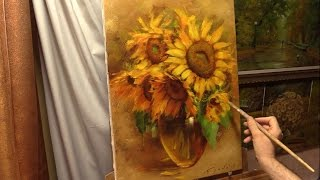 Янтарные подсолнухи. Amber sunflowers. Alla Prima. Process of creating oil painting from Oleg Buiko.
