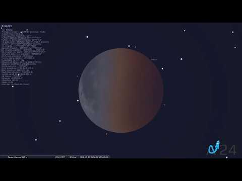 27 lipca 2018 - Symulacja całkowitego zaćmienia Księżyca i Wielkiej Opozycji Marsa