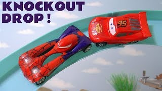 Disney Cars McQueen races Hot Wheels Spiderman Superman and Flash with Hulk & funny Funlings TT4U