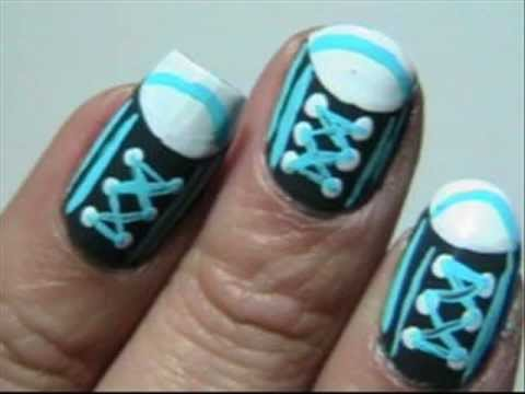 Gray and Blue Easy Converse Nails