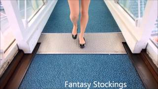 Re-uploaded: 8 den OMSA pantyhose at the airport