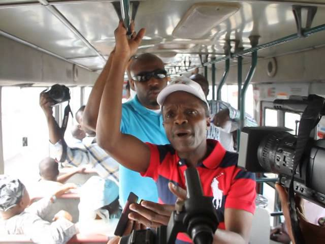 Osinbajo speaking on Buhari, corruption, security inside BRT bus by Saheed Olugbon