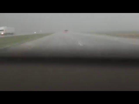 Intense Hail Breaks Windshield in Salina, KS.