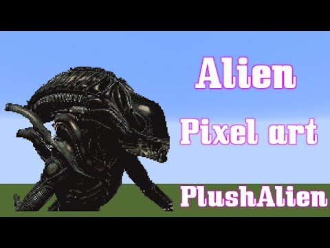 Minecraft Pixel Art SpeedBuild | Alien