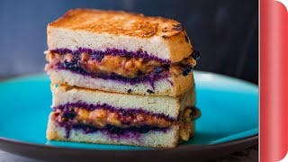 Monster Grilled Banana And Blueberry Sandwich