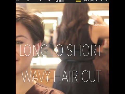 long curly hair cut off to a pixie cut