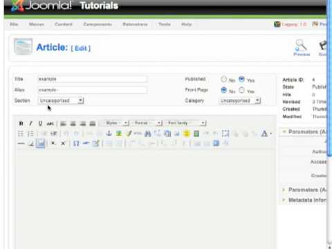 Joomla tutorial - How to Create Section and Category