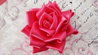DIY Satin ribbon rose, satin ribbon flower tutorial,how to,kanzashi