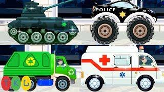 Xe Cảnh Sát, Xe Cứu Thương, Xe Đổ Rác & Xe Tải - Xe Tank | TopKidsGames (TKG) 333
