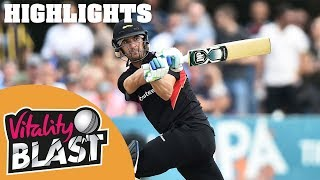 Derbyshire v Leicestershire | Ackermann Claims Three Wickets! | Vitality Blast 2019 - Highlights