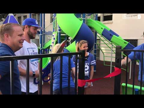Dodgers community: Clayton Kershaw, Kershaw's Challenge unveil park & host Back to School Bash