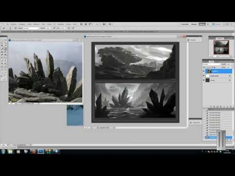 Painting 3 environment sketches in Photoshop with Davide Fabrizzi