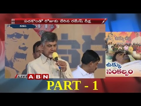 Kadapa Steel Plant Row | CM Chandrababu Naidu Speech over CM Ramesh Hunger Strike | Part 1