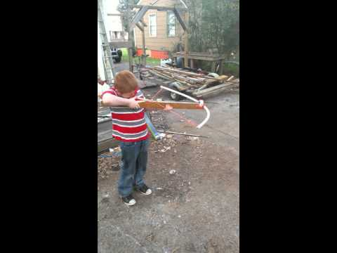 My son shooting my homemade pvc medieval crossbow