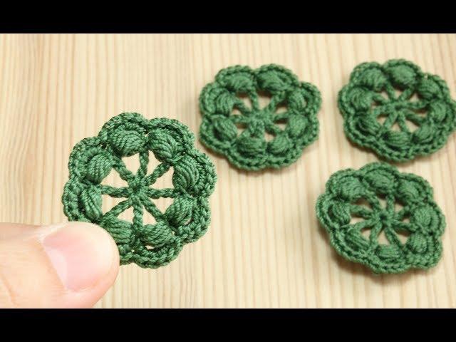 Вязание крючком - простой маленький ЦВЕТОЧЕК с пышными столбиками - crochet small flower