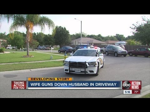 Deputies say wife gunned down husband in driveway