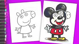Mickey Mouse - coloring book Peppa Pig - Disney Junior - Boyama Videosu - Boyama