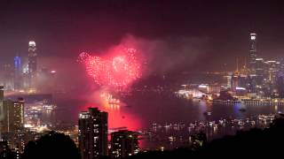Hong Kong Year of the Horse Chinese New Year fireworks from hills Feb 2014