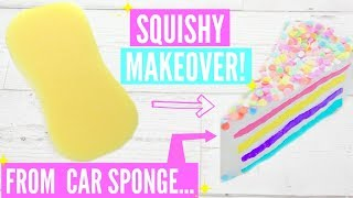 SQUISHY MAKEOVER: Turning a $1 SPONGE into SQUISHY! EASY No Memory Foam DIY HOW TO MAKE SQUISHY!