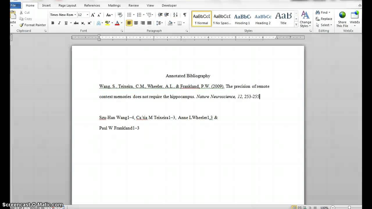 annotated bibliography cover page apa