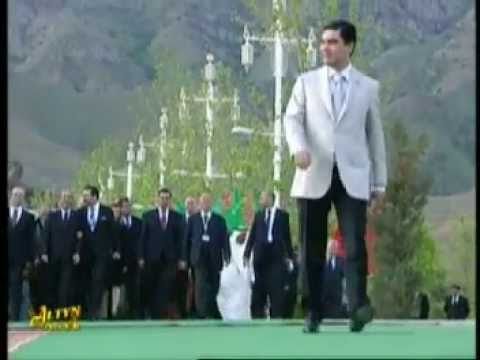 Turkmenistan's President with his grandson at Horse Day event