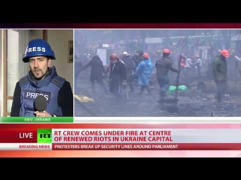 Shots fired at RT crew in Kiev as riots reignited