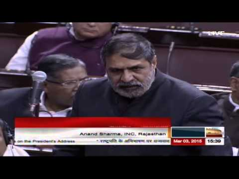 Sh. Anand Sharma's speech in the discussion on the Motion of Thanks on President's Address