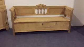19th Century Country Kitchen Box Seat Bench - Pinefinders Old Pine Furniture Warehouse