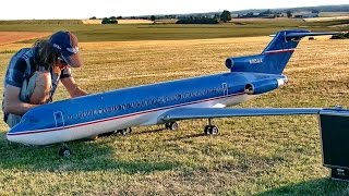 BOEING 727 GIANT RC AIRLINER MODEL TURBINE JET DEMO FLIGHT / RC Airliner Meeting Airshow 2015