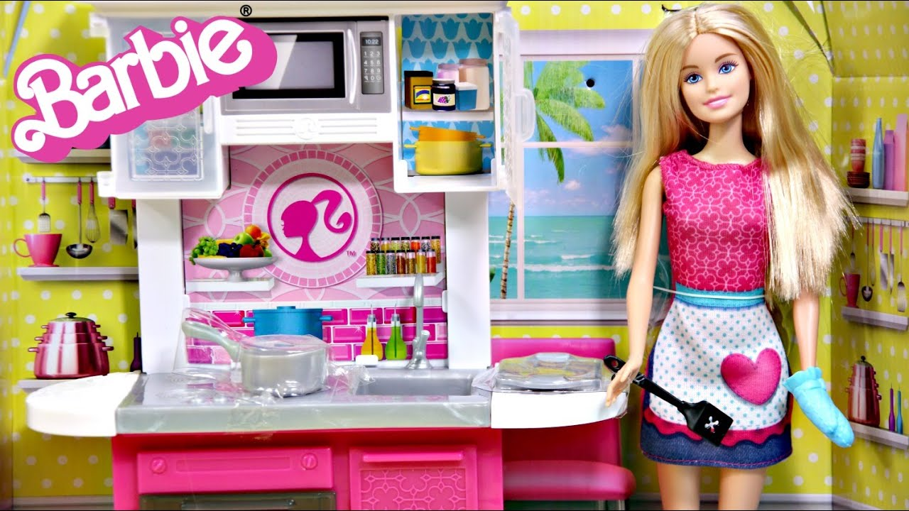 Barbie doll with kitchen furniture set images for Doll kitchen set