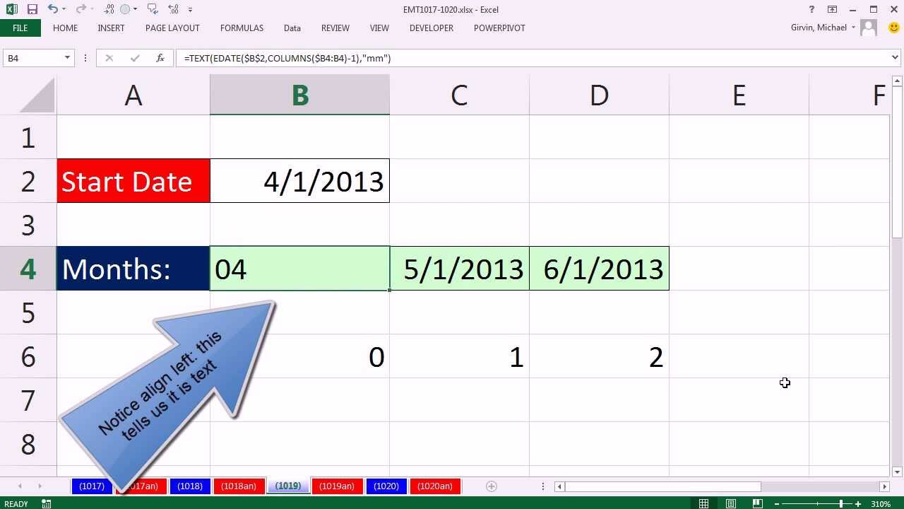 Excel Magic Trick 1019 Formula For Text Month Labels From