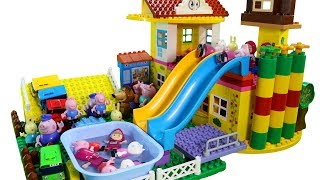 Peppa Pig House Construction Set With Swimming Pool And Water Slide LEGO Creations Toys for Kids
