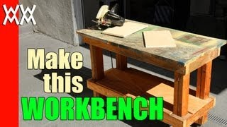 Build a cheap but sturdy workbench in a day using 2x4s and plywood.