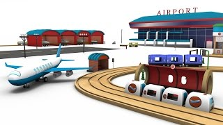 Transport for children - train videos - car cartoons - Airport for kids - cartoon cars for children