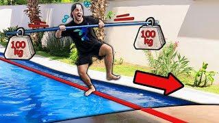 GINCANA DO LUCCAS DE EQUILÍBRIO COM SLACKLINE !! (VÍDEO DE PISCINA)