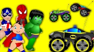 Superheroes (baby)  play with cars | popular rhymes | Wildfamily rhymes | Funny  rhymes for  kids
