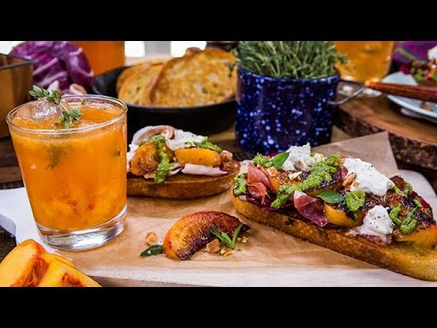 How to Make Grilled Peach and Burrata Sandwich with Minted Arugula Pesto
