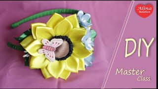 The hairband with Sunflower of ribbons / Подсолнух из Лент на Ободке
