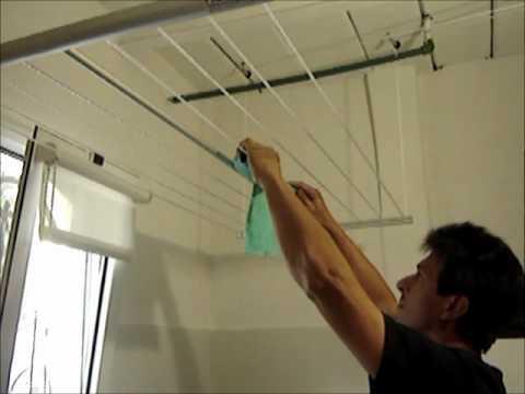 Funcionamiento tendedero de ropa sistema elevador colgante - Colgador de tela con bolsillos ...