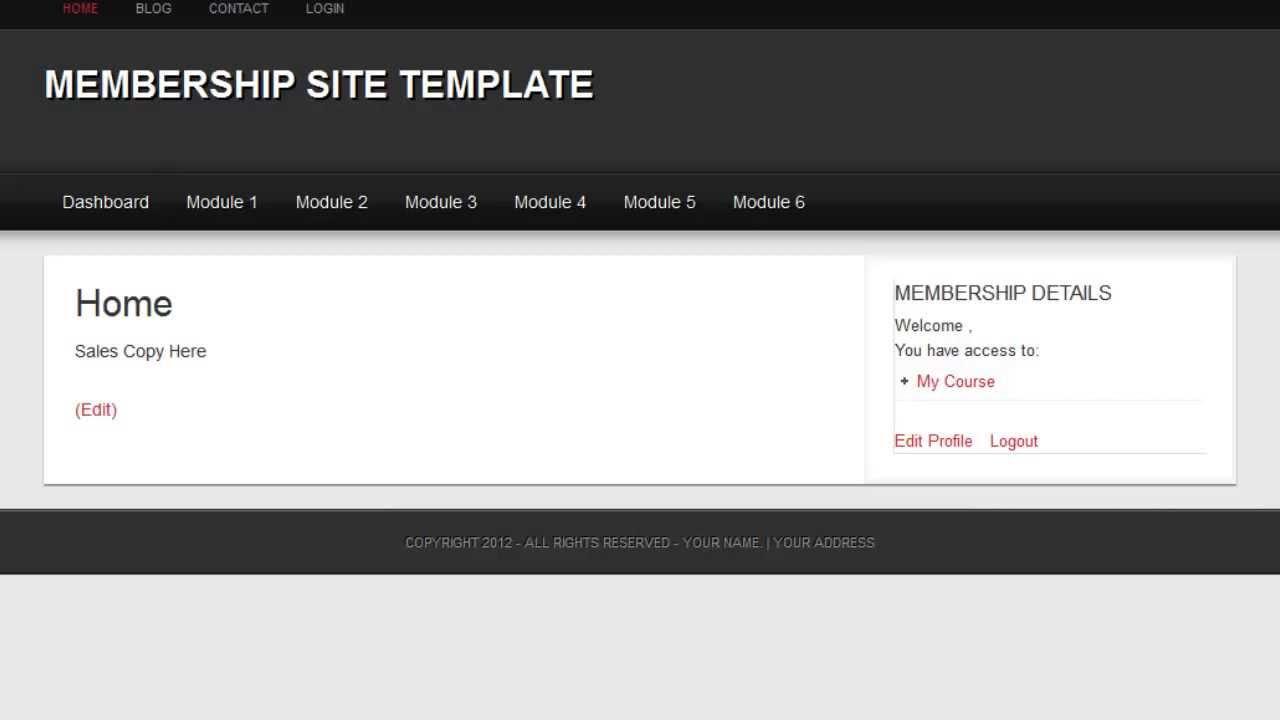 membership site template youtube. Black Bedroom Furniture Sets. Home Design Ideas