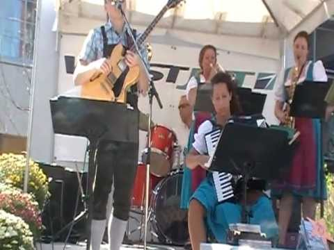 A  local band plays german polka music in Kitchener during Oktoberfest