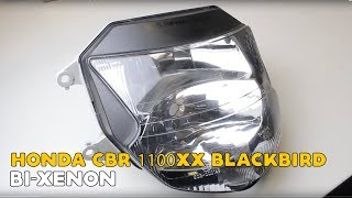 Honda CBR 1100XX Blackbird Bi-xenon projector Led Angel Eyes installation video