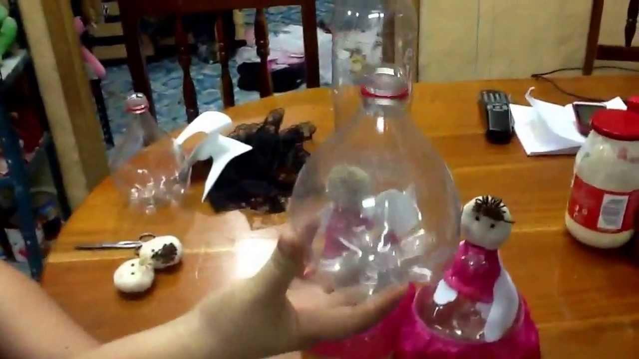 Angelitos pet reciclados centro de mesa o recuerdo youtube - Como hacer centros de mesa para bautizo ...
