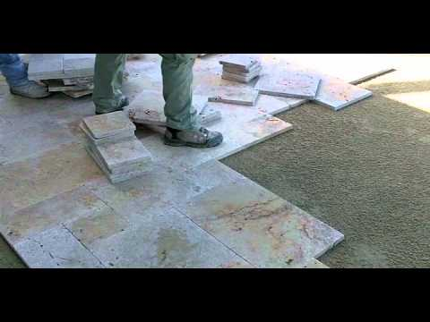 Travertine Paver Pool Deck Installation Part 2 Youtube