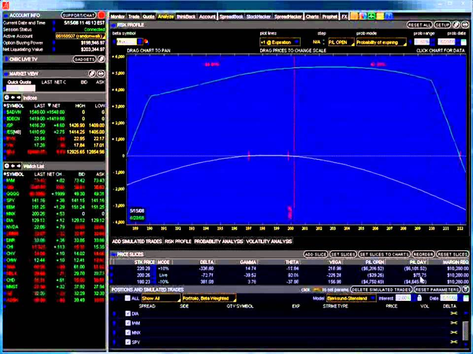 Stock option trade simulator