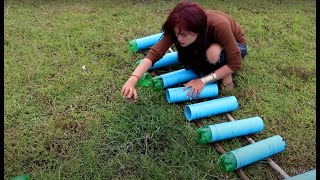 Smart Girl Make Fish Trap Using Plastic Bottle And PVC Pipe To Catch A Lot Of Fish